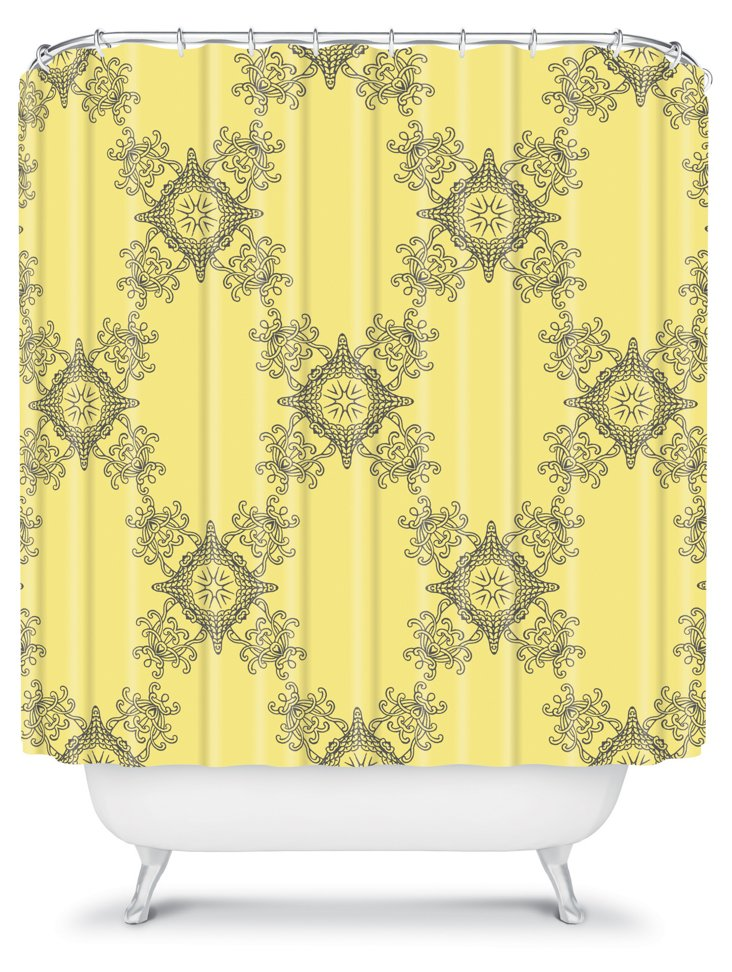 Ornamental Shower Curtain, Yellow