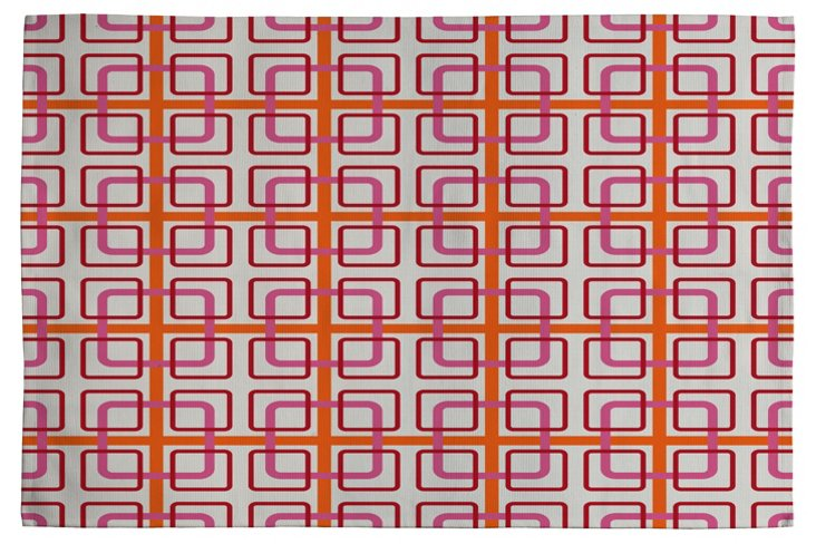 Miami Knot Woven Rug, Red