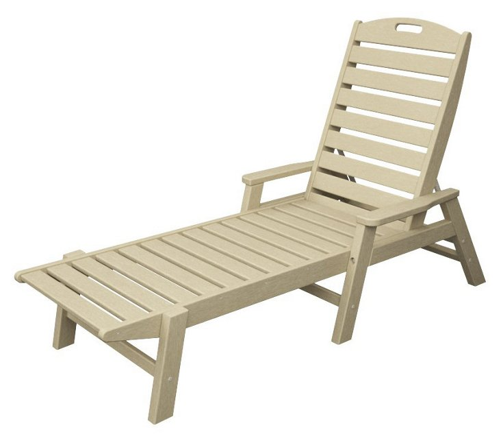 Nantucket Stackable Chaise w/ Arms, Sand