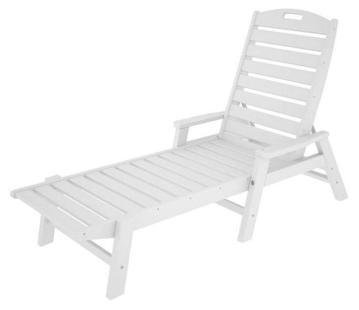 Nantucket Stackable Chaise w/ Arms, White