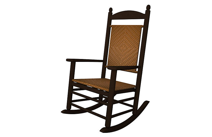 Jefferson Woven Rocker - Mahogany/Tigerwood - Polywood