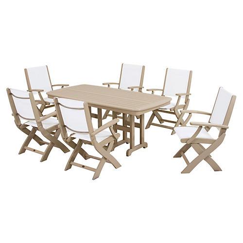 Coastal 7-Pc Dining Set, Sand/White