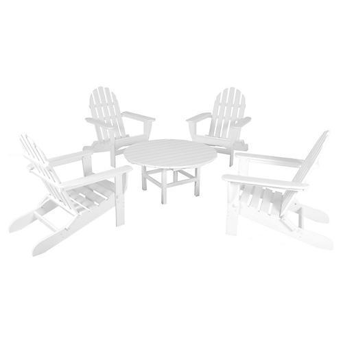 White Adirondack 5-Pc Conversation Set