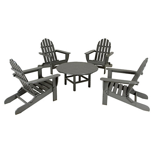 Gray Adirondack 5-Pc Conversation Set