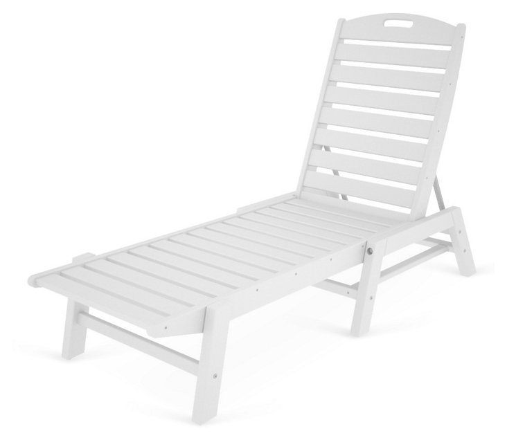 Nantucket Stackable Chaise, White