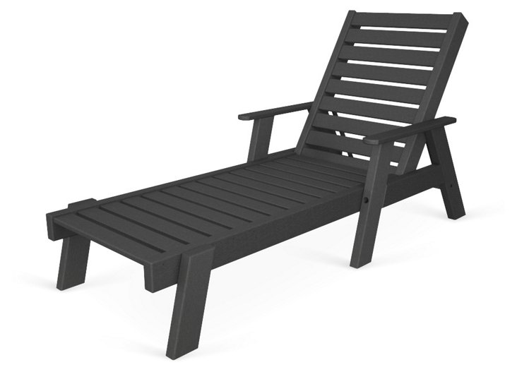Cape Cod Chaise w/ Arms, Slate Gray
