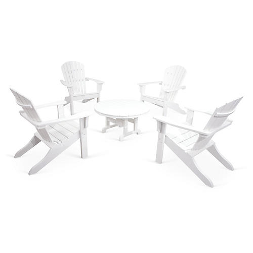 Ivy Terrace 5-Pc Shell Adirondack Set, White