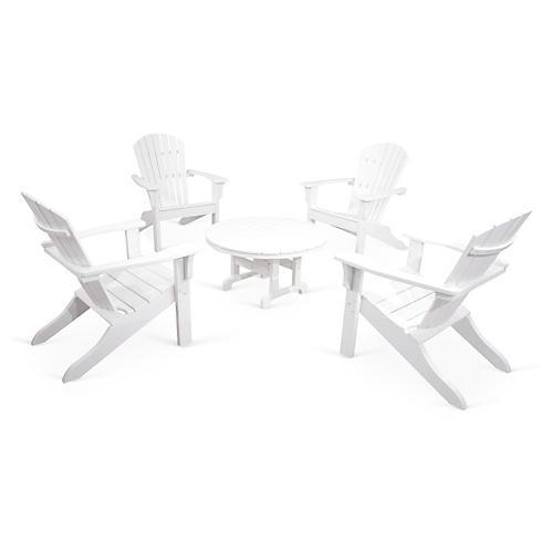 Ivy Terrace 5-Pc Shell Adirondack Set, White
