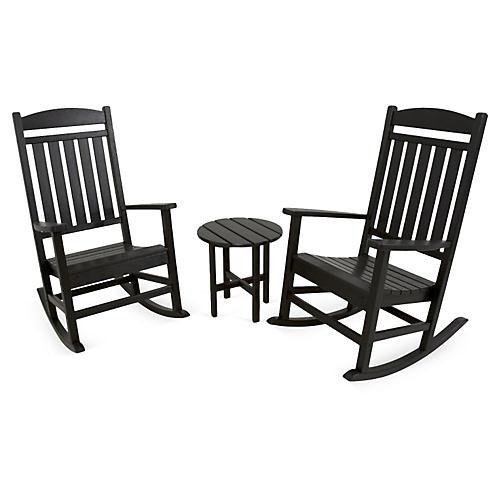 Ivy Terrace 3-Pc Rocker Seating Set, Black