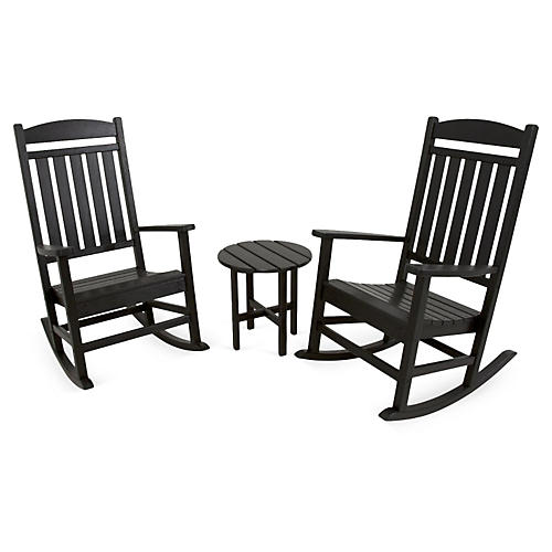 Ivy Terrace 3-Pc Rocker Seating Set, Black