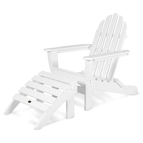 Asst. of 2 Don Adirondack Chair & Ottoman, White