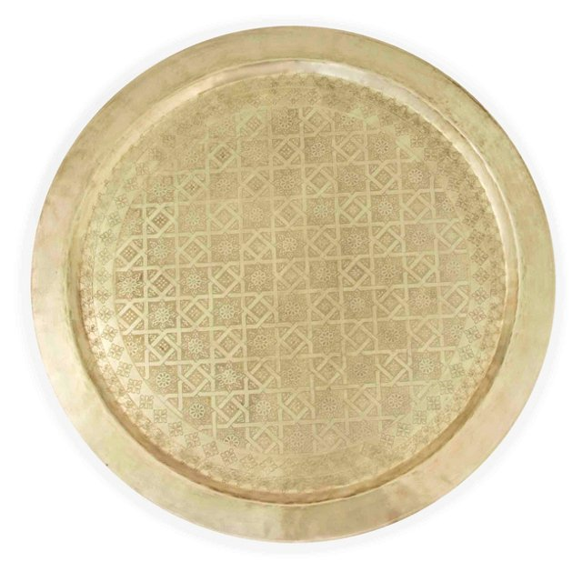 """Etched Gold Tray, 24"""""""