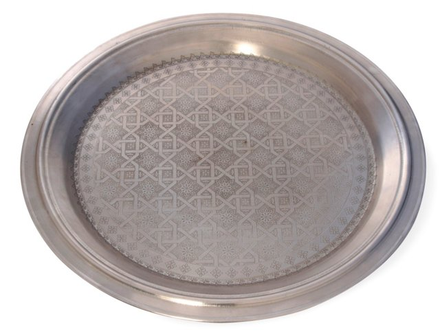 "22"" Etched Silver Tray"