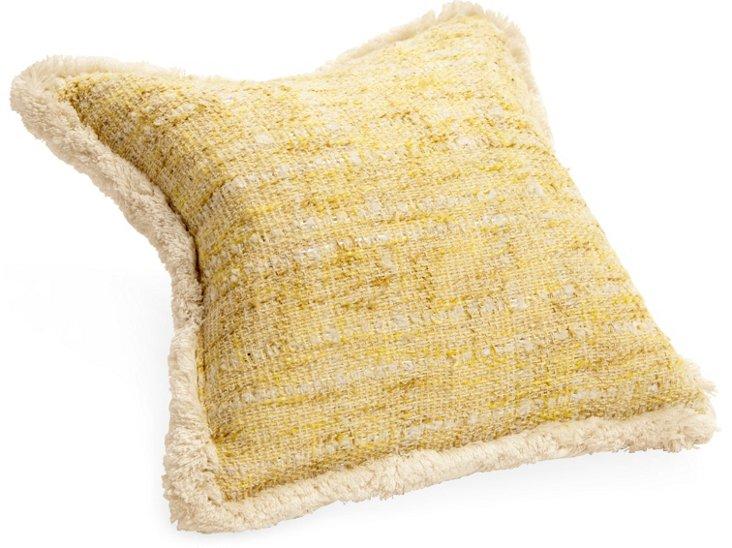 Yellow & White Bouclé Pillow