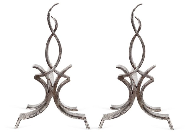 Stylized Flame Andirons, Pair