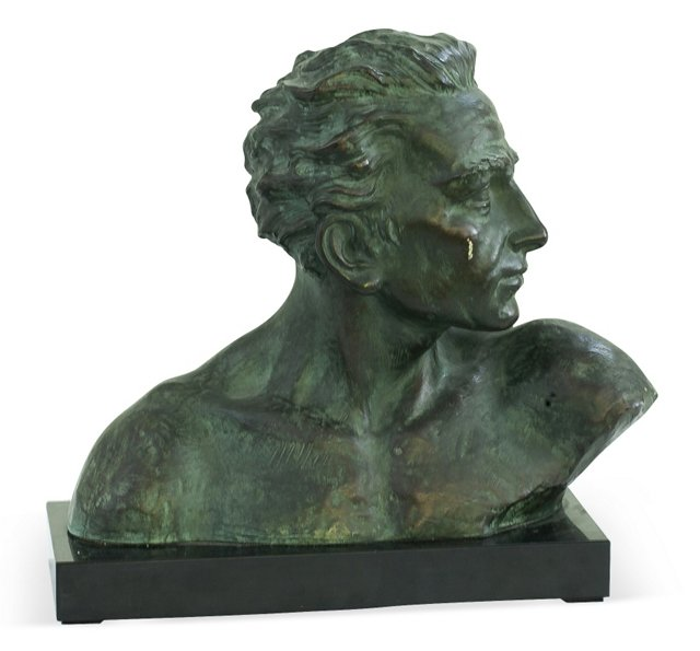 Ceramic & Bronze Bust of a Man