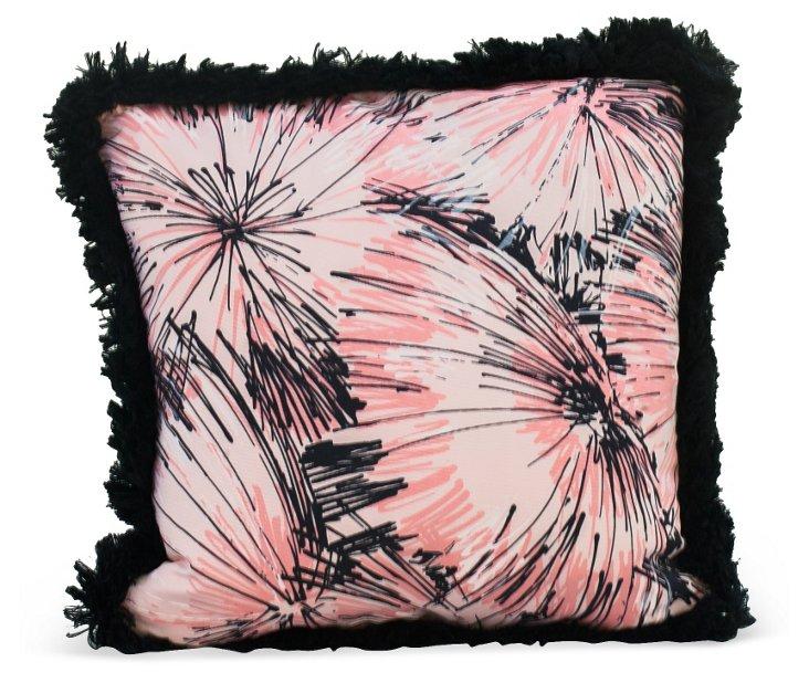 Pink, White, & Black Starburst Pillow
