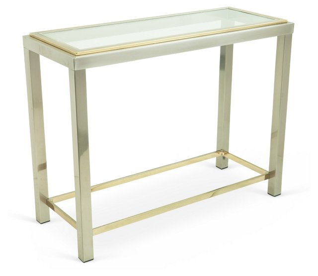 Brass & Chrome Console Table