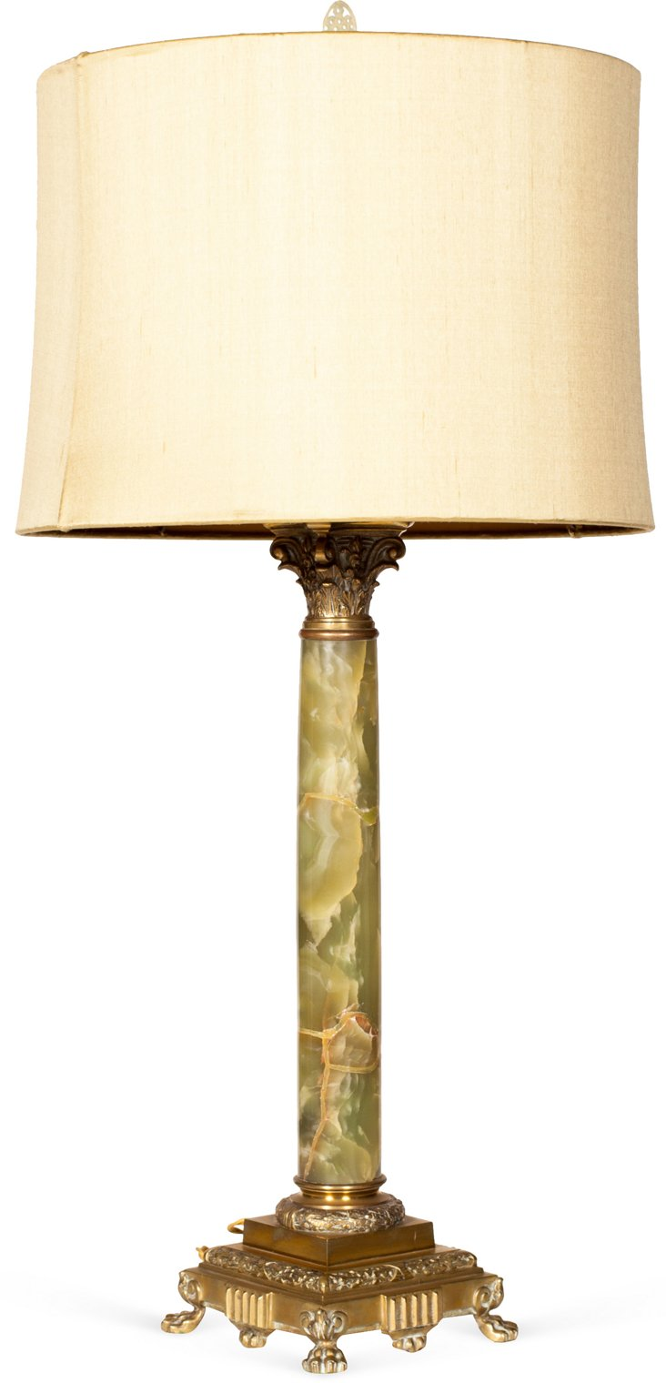 19th-C. French Onyx Lamp