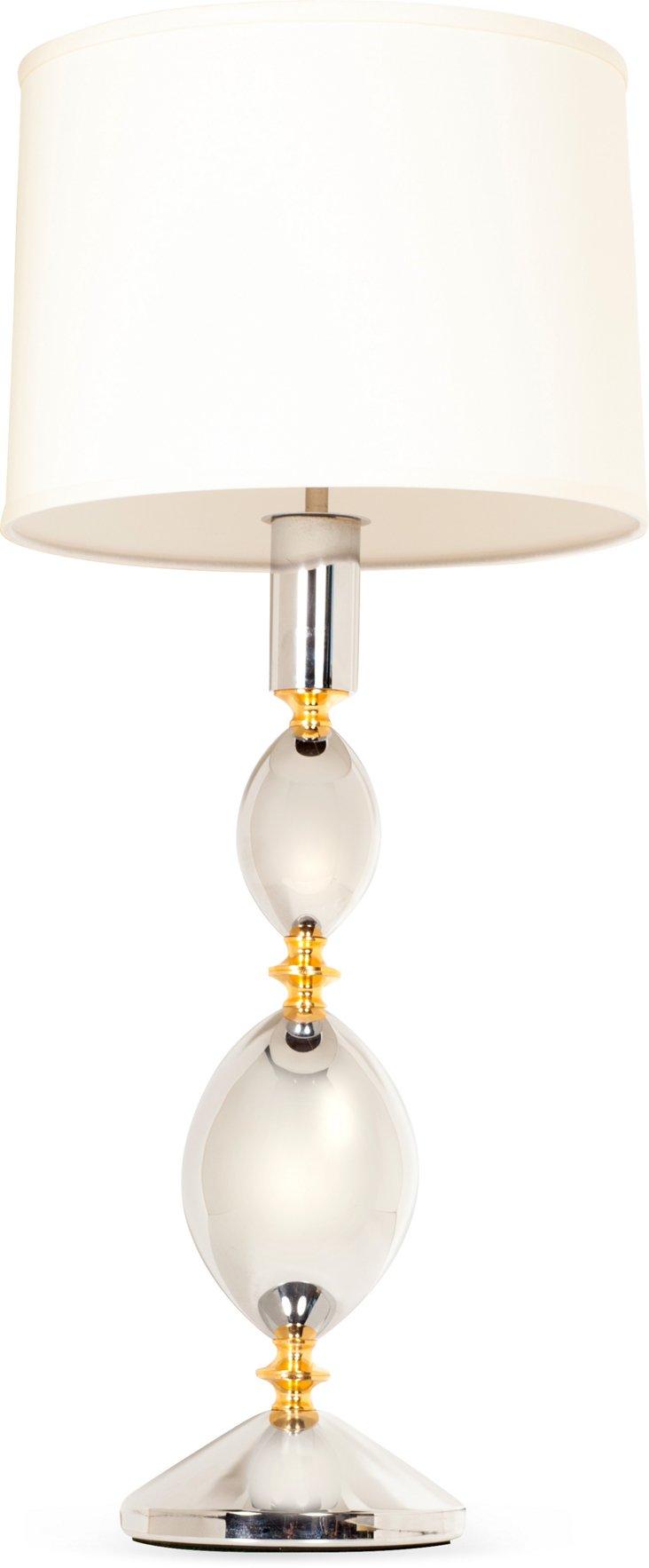 Italian Chrome & Brass Lamp