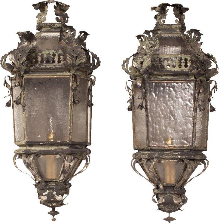 French Wall Lanterns, Pair