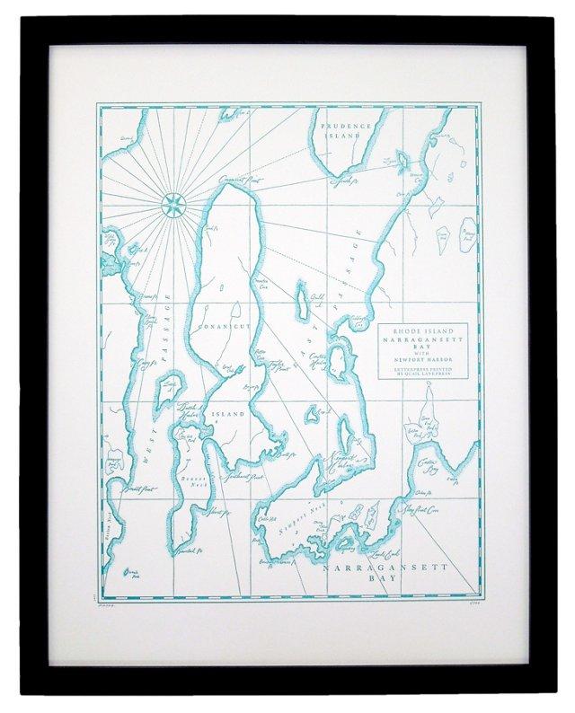 Narragansett Bay Map Print