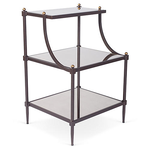Liv Tiered Side Table, Bronze/Mirrored