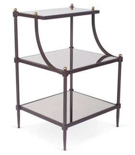 Liv Tiered Side Table, Bronze/Mirrored   Standard Side Tables   Side Tables    Living Room   Furniture | One Kings Lane