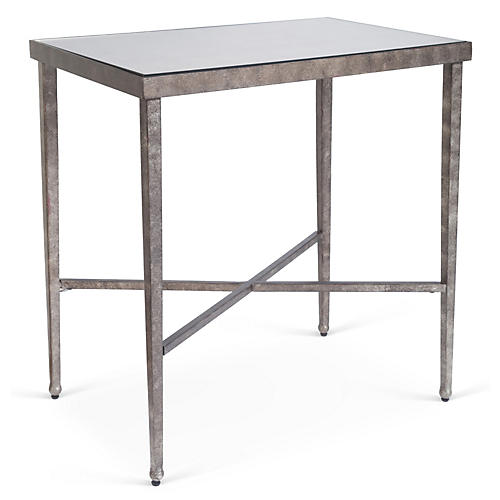Charlotte Mirrored Side Table, Bronze