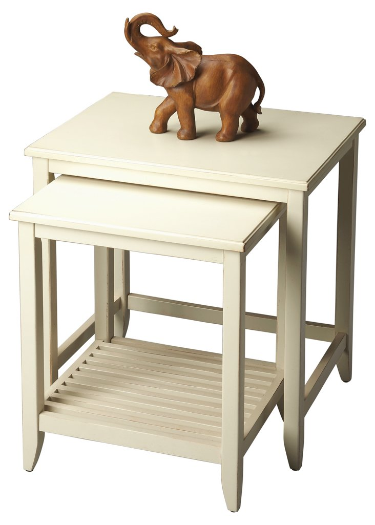 White Tessa Nesting Tables, Set of 2