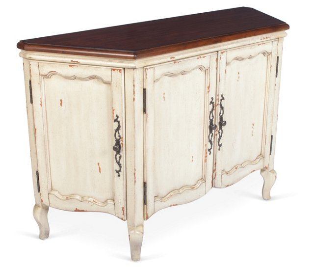 Brooke Weathered Console Cabinet, Cream