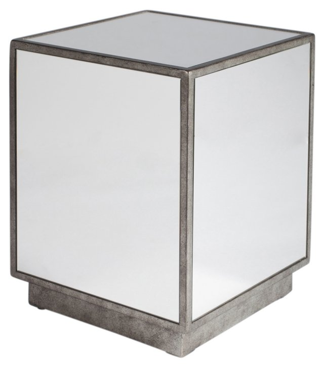 Lewis Mirrored Side Table, Pewter