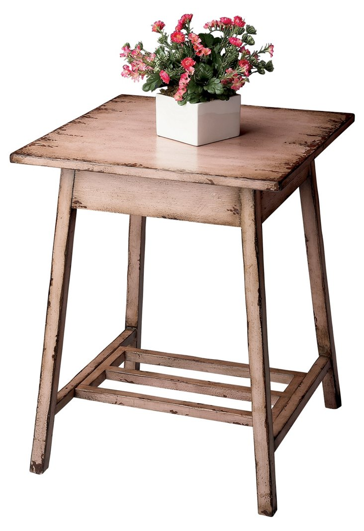 Stanley Side Table, Distressed Blush
