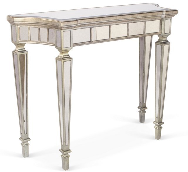 Kat Mirrored Console Table, Light Pewter