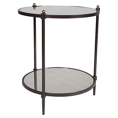 Nina Mirrored Side Table, Bronze/Gold