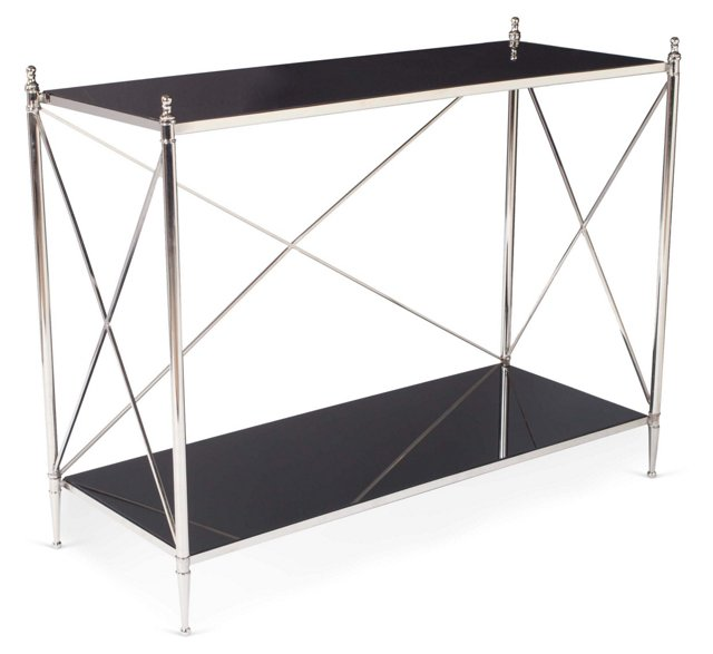 Poppy Console Table, Black/Nickel