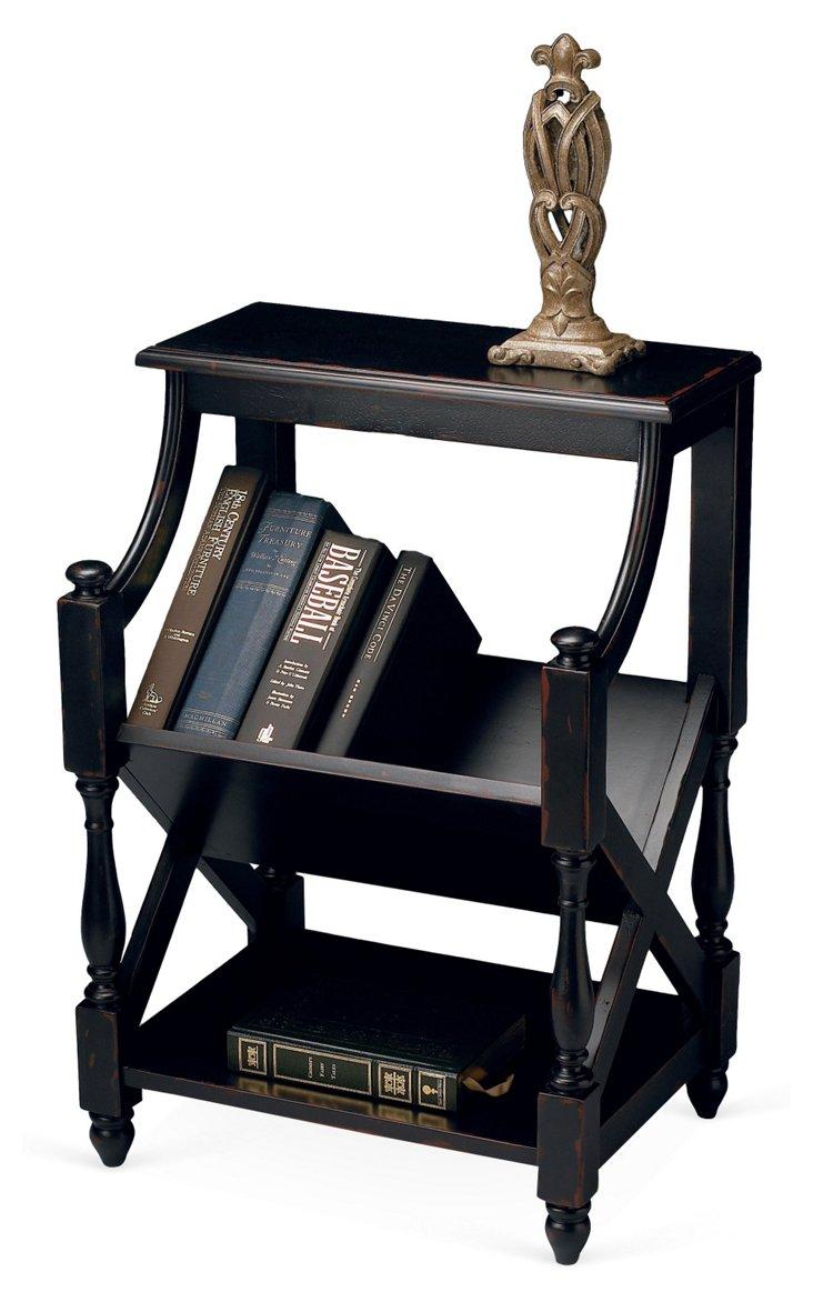 Rhett Book Table, Distressed Black