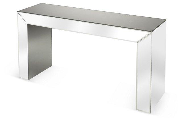 Brunswick Mirrored Console Table, Silver