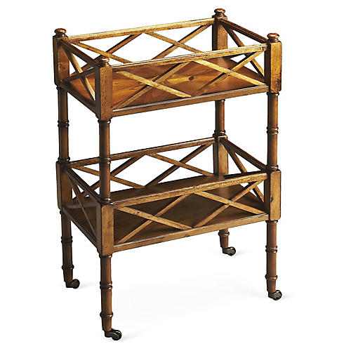Taylor Rolling Bar Cart, Wood/Brass