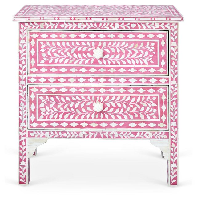 Gloria Accent Chest, Pink/Ivory