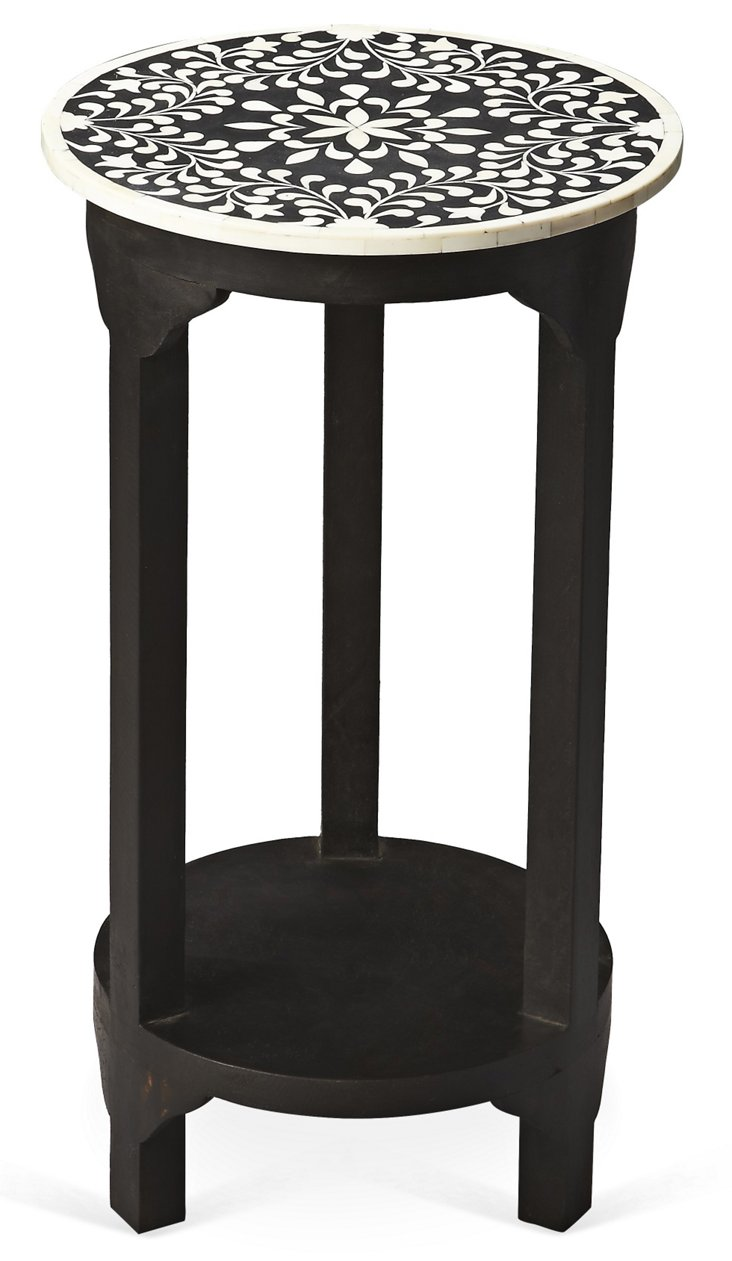 Allora Round Side Table, Black