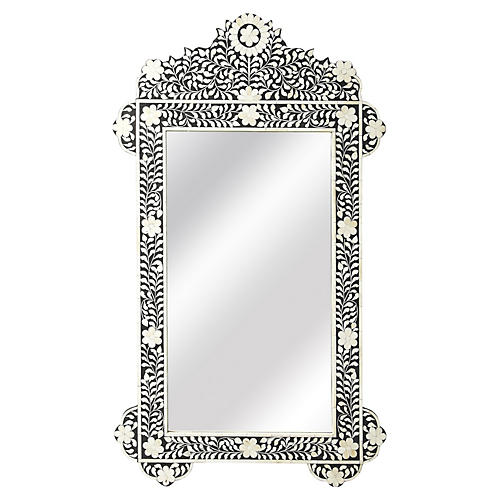 "Bone 28""x48"" Inlay Oversize Wall Mirror, Black"