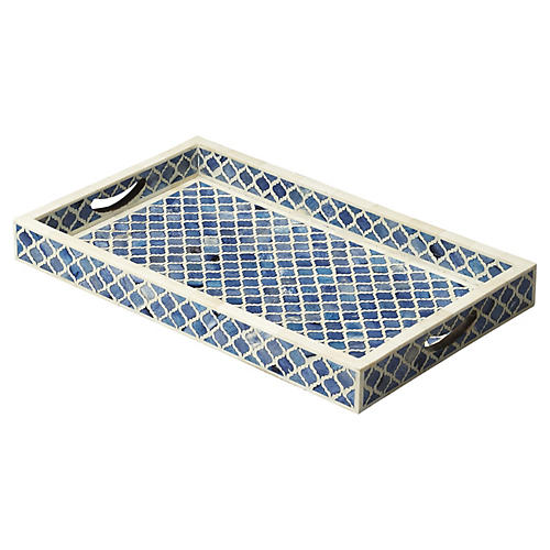 "20"" Bone-Inlay Serving Tray, Brown/Silver"