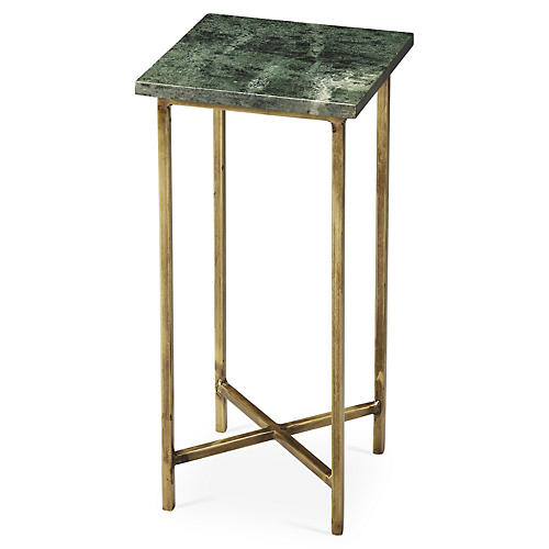 "Brooklyn 21"" Side Table, Marble/Gold"