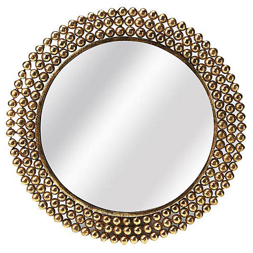 Alyse Round Wall Mirror, Gold