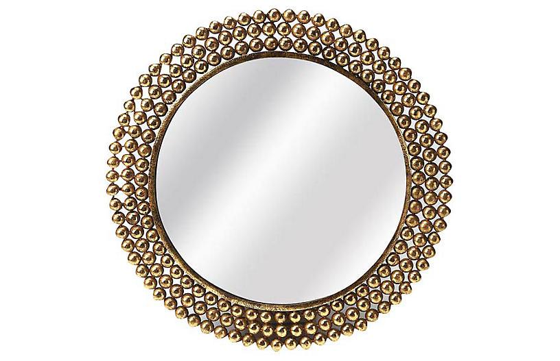 Alyse Round Wall Mirror, Gold
