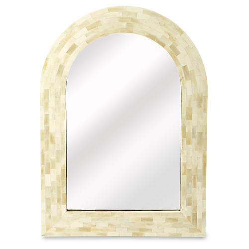Dafna Arched Bone-Inlay Wall Mirror, Cream