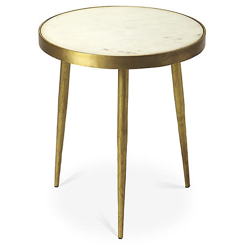 Clyatt Marble Side Table, Antiqued Gold