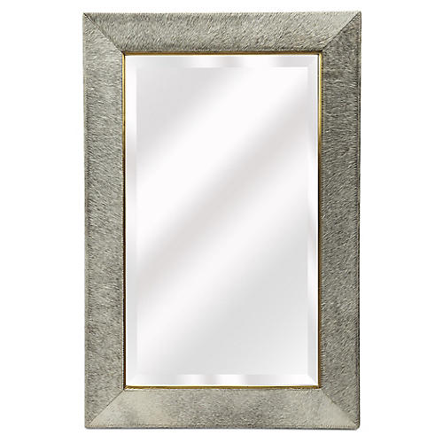 Hair-on-Hide Wall Mirror, White