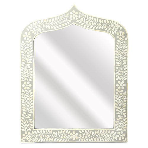 Bone Inlay Wall Mirror, White